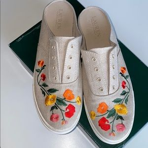 Ralph Lauren Slip On Embroidered Tennis Shoes